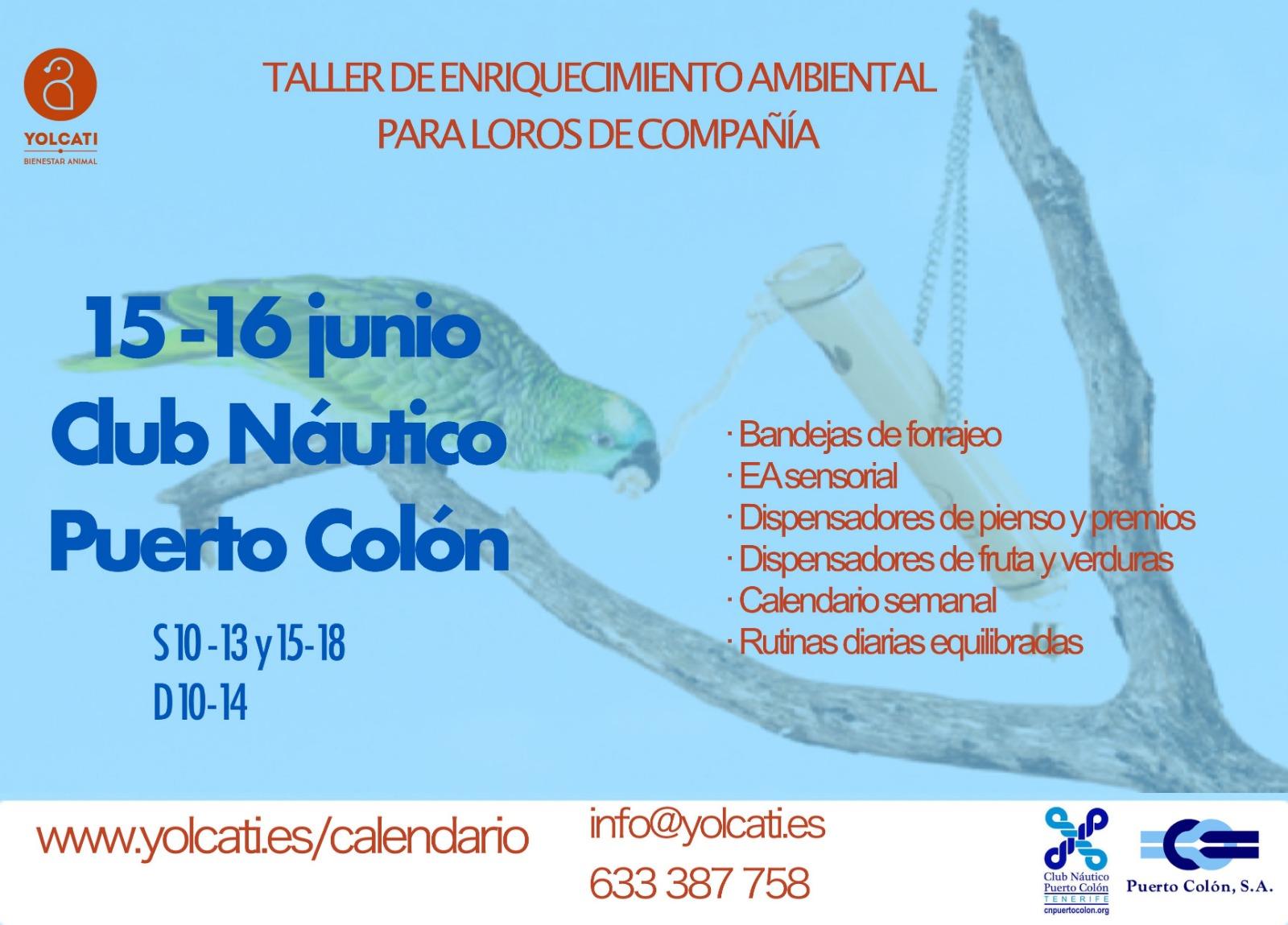 Taller de enriquecimiento ambiental para loros @ Club Náutico Puerto Colón